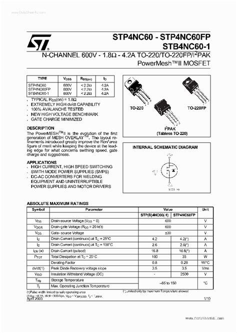 transistor b817c datasheet p4nc60fp 1961398 pdf datasheet