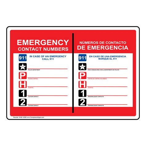 Emergency Number Card Template by Emergency Contact Numbers 914 Bilingual Sign Nhb 14095