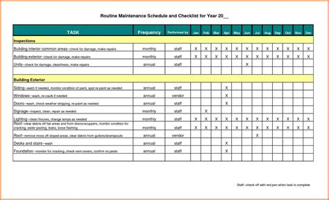 Building Maintenance Spreadsheet Onlyagame Maintenance Spreadsheet Template
