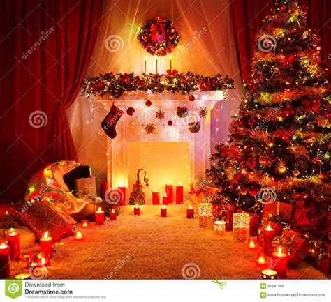 room christmas tree fireplace lights xmas home interior