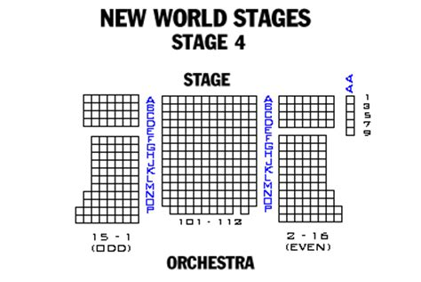 new world stages seating chart broadway and broadway seating charts and plans