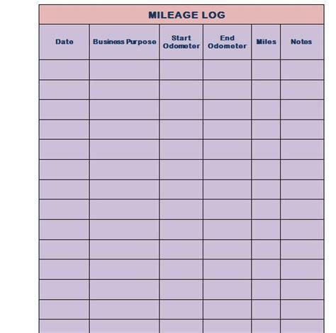 printable mileage log templates  template lab