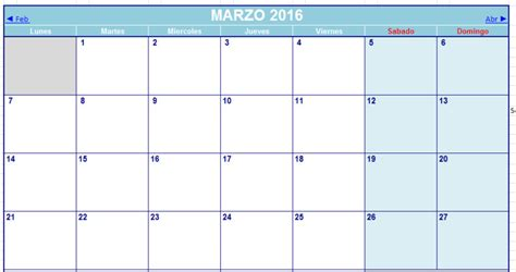 Calendario Xls 2016 Calendario Excel 2016 Descargar Gratis Calendar Template