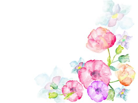 Watercolor flowers greetings PPT Backgrounds   Flowers