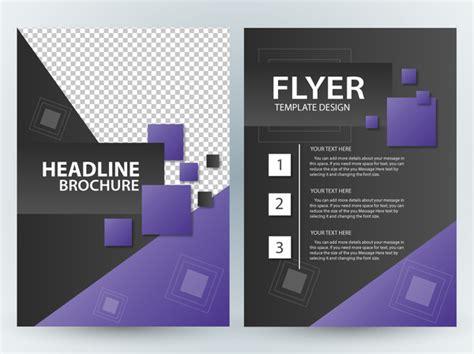 magazine template for adobe illustrator flyer vector illustration with violet squares design free