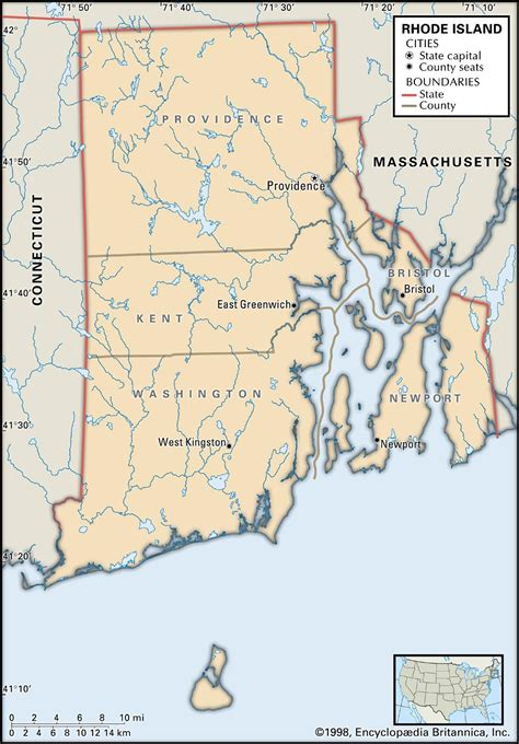 rhode island on map state and county maps of rhode island