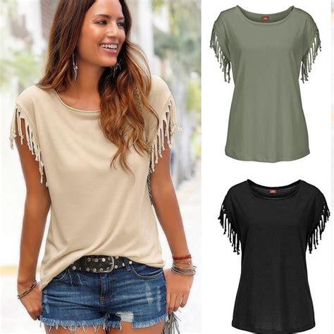 Tassel Blouse By Fashion fashion womens summer top sleeve tassel blouse casual tops t shirt ebay
