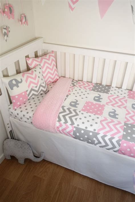 pink and grey toddler room patchwork quilt nursery set pink and grey elephants