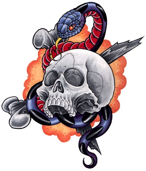 skull and snake by twistofcain1975 on deviantart
