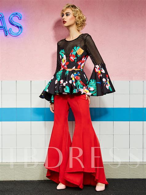 Floral Print Bell Sleeve Blouse floral print eyelet bell sleeve slim s blouse