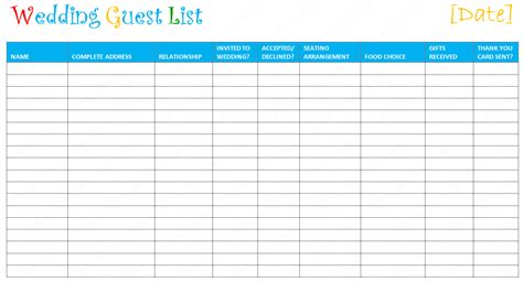 document templates free printable wedding guest list template