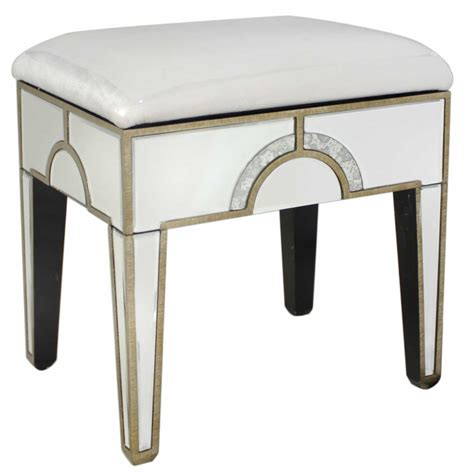 Glass Stools by New Deco Upholstered Dressing Table Stool Mirrored Glass