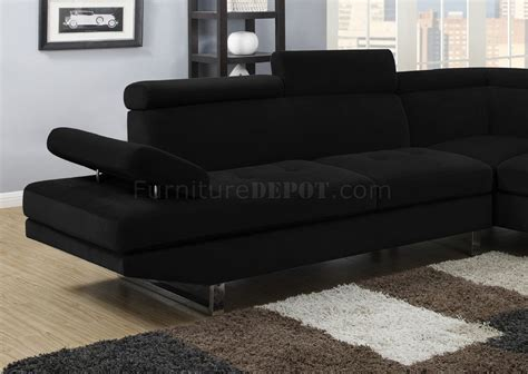 Black Fabric Sectional Sofa 4016 Sectional Sofa In Black Textured Sateen Fabric