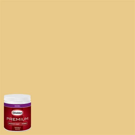 glidden premium 8 oz hdgy46 vintage yellow eggshell interior paint with primer tester hdgy46p