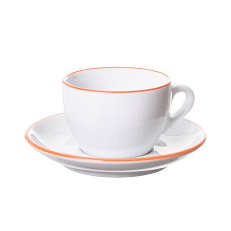 Cappuccino Cups by Ancap Verona Orange Painted Rim Cups And Saucers Prima