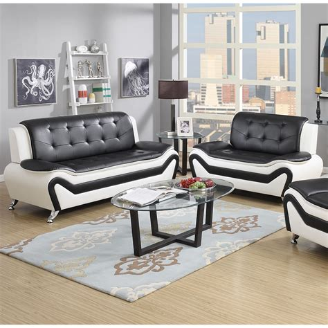 black and white leather sofa set wanda 2 modern bonded leather sofa set ebay