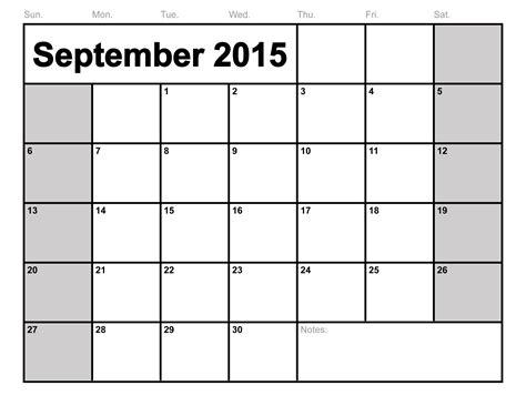 September Calendar Blank   weekly calendar template
