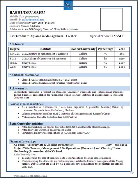 sample of a beautiful resume format of mba fresher