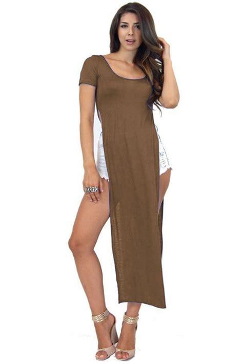 Tunik Blouse Dress Midi Maxi Bluss Atasan Baju Muslim Longdress womens slit dress high side split midi tunic top sleeves maxi ebay