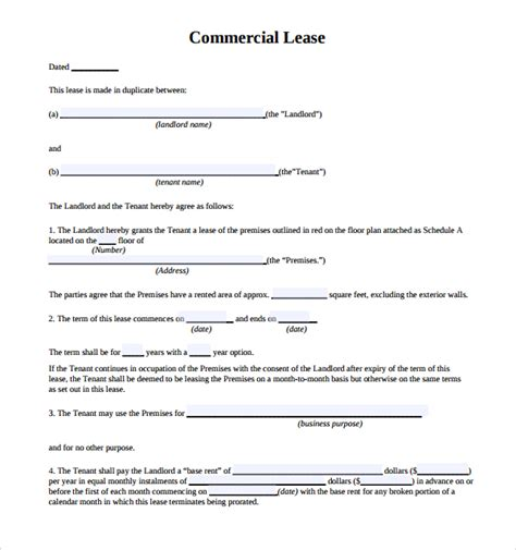 commercial building lease template sle commercial lease agreement 6 free documents