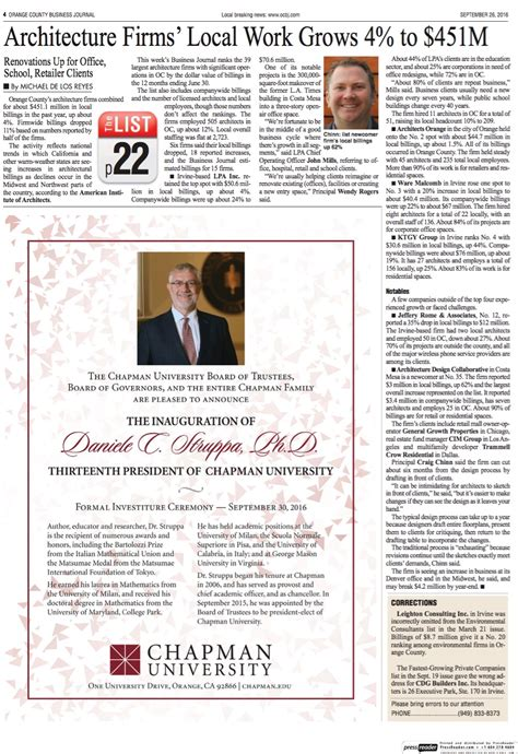 Business Mba Program Orange County by Adc Featured In Orange County Business Journal