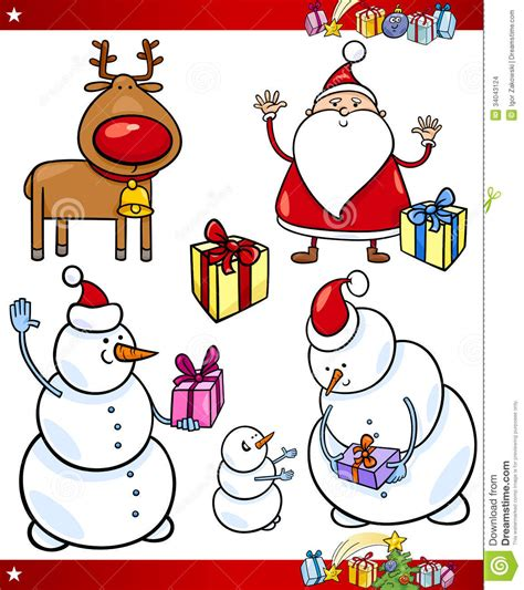 christmas themes cartoon santa and christmas themes cartoon set stock images