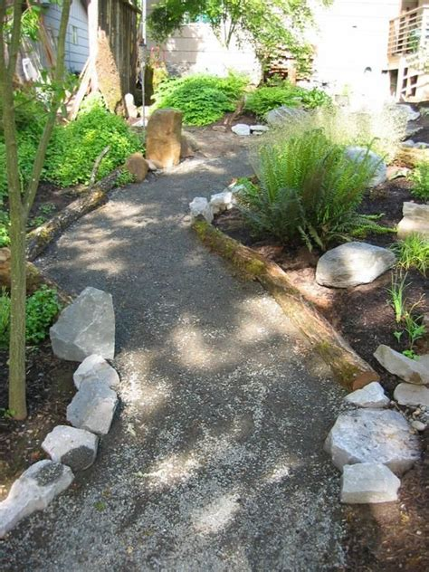 Garden Gravel Prices Low Cost Garden Path With Pea Gravel And Log Accents