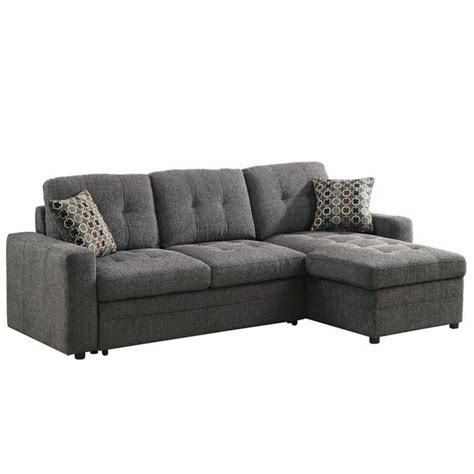Sleeper Sectional Coaster Chenille Sleeper Sofa With Storage In Charcoal And