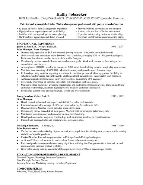 Resume Sle For National Sales Manager Pdf Retail Store Manager Sle Resume Book