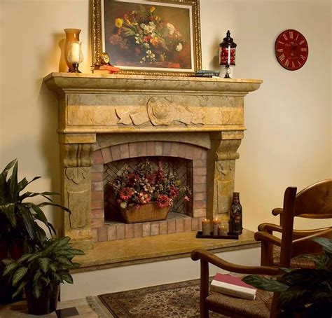 showroom stone fireplace surrounds traditional indoor