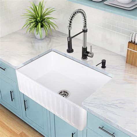 Apron Front Farmhouse Kitchen Sinks Vigo Farmhouse Reversible Apron Front Matte 36 In Single Bowl Kitchen Sink In White