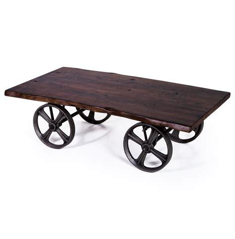 sullivan industrial loft walnut iron rolling rustic cart