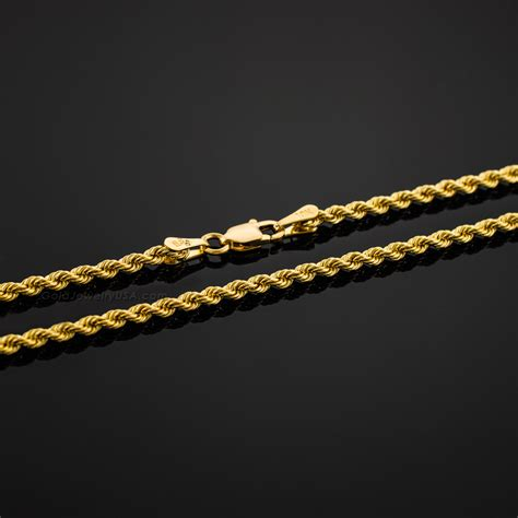 hollow gold 10k hollow gold rope chain 2mm