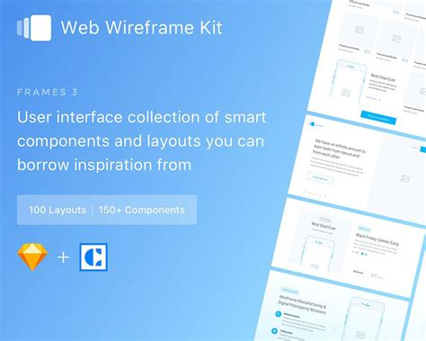 75 layouts webdesign wireframe kit product mockups on frames 3 web wireframe kit visual hierarchy