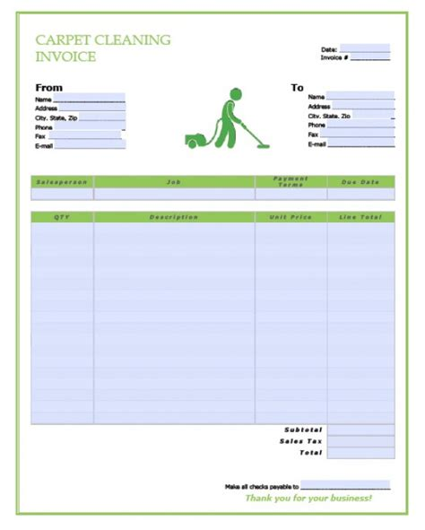 invoice template cleaning services free carpet cleaning service invoice template excel