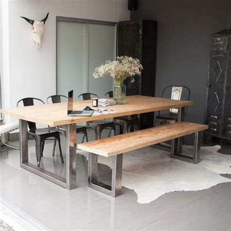kitchen tables with bench seating and chairs reclaimed pine and steel dining table bench and chairs by
