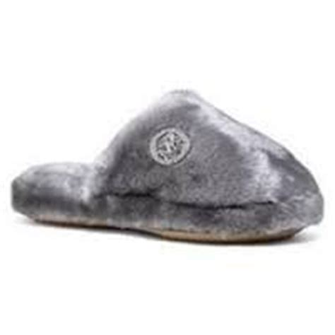 mk house slippers amazon com michael kors jet set mk faux fur slippers house shoes sterling gray size 5