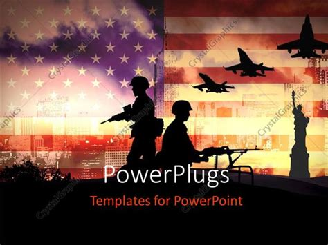 Powerpoint Template Silhouettes Of Any Soldiers In New York With American Flag In Background Army Powerpoint Templates