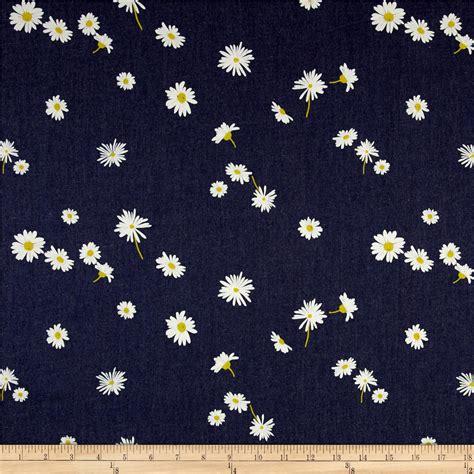 printable fabric art gallery denim print ragged daisies discount designer