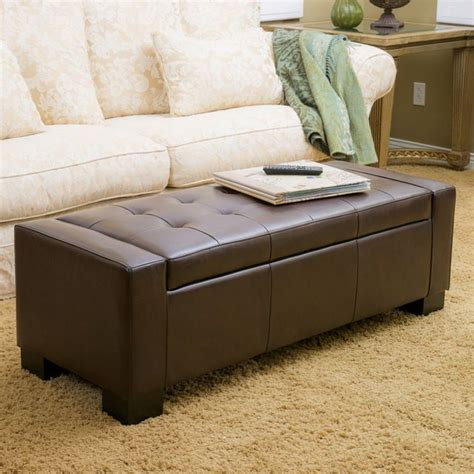 Diy Storage Ottoman Cube Rothwell Brown Leather Storage Ottoman Bench Contemporary Ottomans And Cubes Diy Crafts