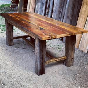 Rustic Cabin Table Ls Reclaimed Barnwood Trestle Dining Table By Echopeakdesign
