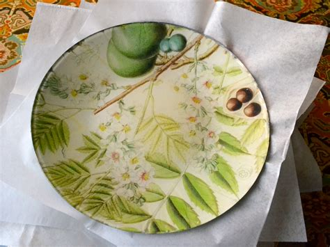 Decoupage Plate - flowering branches decoupage plate plum by