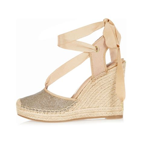Wedges Gloss Gold river island gold lace up espadrille wedges in metallic lyst