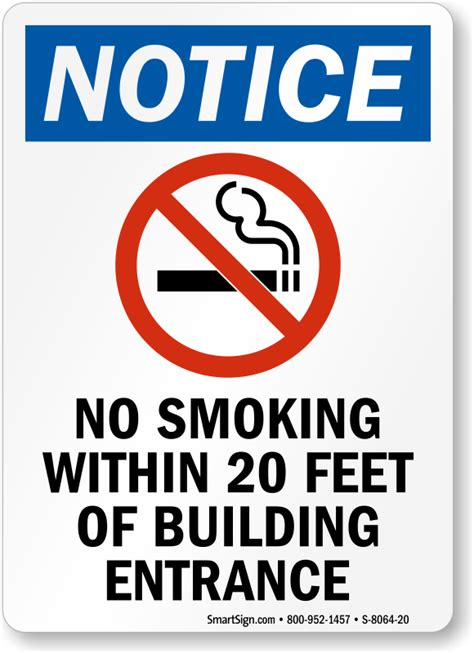 no smoking sign requirements california no smoking within 20 feet of building entrance sign sku