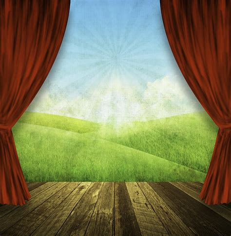 curtain paintings theater stage with red curtains and nature background