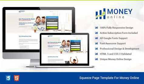Make Money Online Squeeze Page - html5 responsive money online squeeze page design templates to earn money online