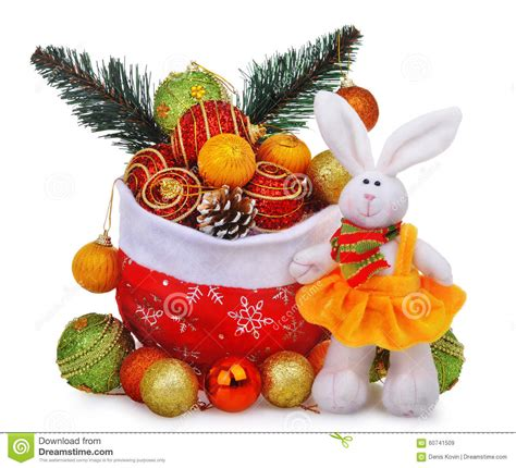 white rabbit new year new year composition with santa claus bag