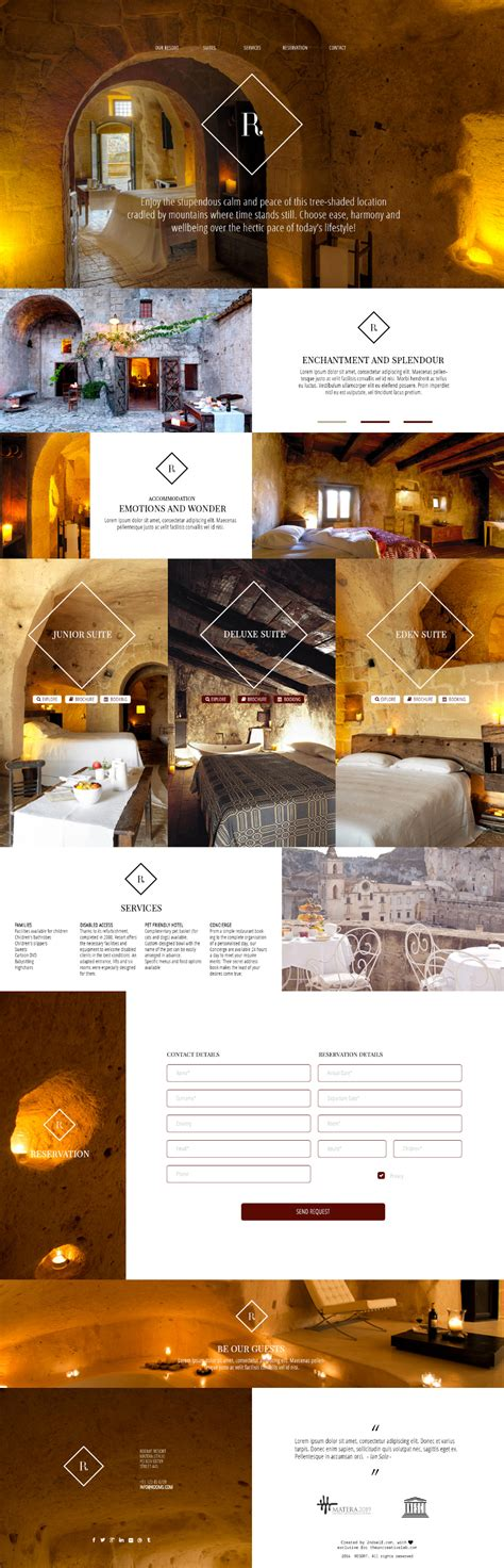 free hotel and resort psd website template vector area