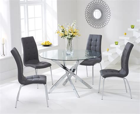Grey Dining Table Chairs Harris Daytona 110cm Glass Dining Table With 4 California Grey Dining Chairs