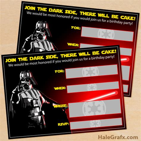 wars card template free printable wars darth vader birthday invitation